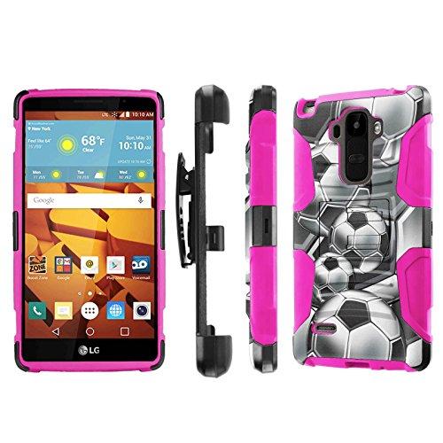 LG G Stylo [LS770 H631] Armor Case [NakedShield] [Black/Pink] Heavy Duty Armor [Holster with Kickstand] Phone Case - [Soccer] for LG G Stylo LS770 -  NakedShield for LG G Stylo, P-LGLS770-1E7-BKHP-CBT-N163