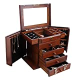 Extra Large Wooden Jewelry Box / Jewel Case Cabinet Armoire Ring Necklacel Gift Storage Box Organizer Mg002 (BROWN)