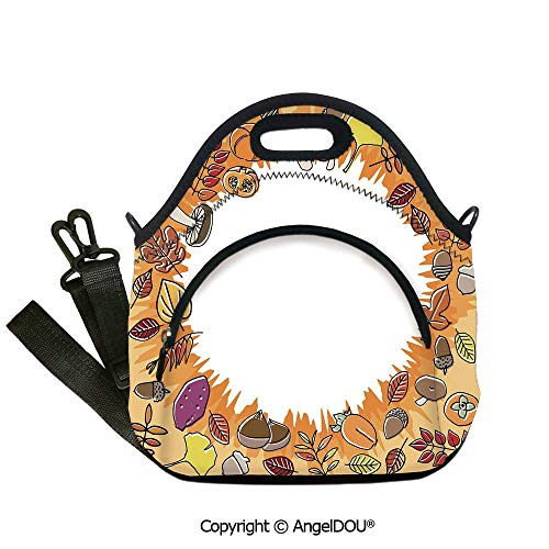 AngelDOU Harvest Reusable Insulated Lunch Bags with Pocket Circular Frame with Dried Leaves Nuts Mushrooms Persimmon Environment Food Decorative Outdoor Travel Picnic Beach Party12.6x12.6x6.3(inch)