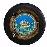 Sea Porthole Window - Full Color Sea Turtle in the Carribean Swimming Jeep RV Camper Spare Tire Cover Black 26-27.5 in
