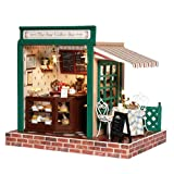 Rylai 3D Puzzles Wooden Handmade Miniature Dollhouse DIY Kit w/ Light-The Star Coffee Bar Series Dollhouses accessories Dolls Houses With Furniture & LED & Music Box Best Birthday Gift