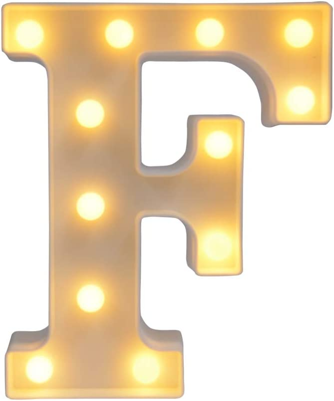 CJWPOWER Room Decor, LED Letter Signs, Cute Home Decor, Light Up Letter Signs for Wall, Bedroom, Party Decorations, Wedding, Birthday. Night Light and More (F)