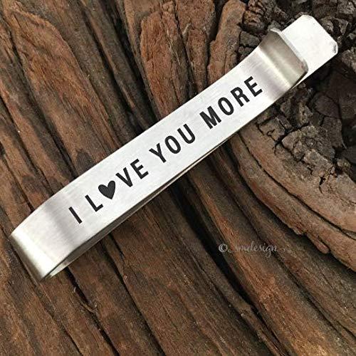 I Love You More Tie Clip- Husband Tie Bar For Boyfriend Valentines Day Gift Personalized Tie Clip Gift Anniversary Tie Bar Men's Tie Clip