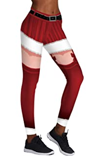 14416ab96f Pink Queen Women's Chic Ugly Santa Christmas Leggings Funny Costume Tights