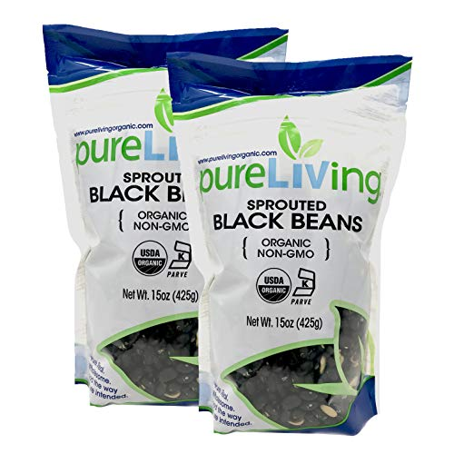 PureLiving - Organic Sprouted Black Beans 15 Oz - 2 Pack - Non GMO Kosher