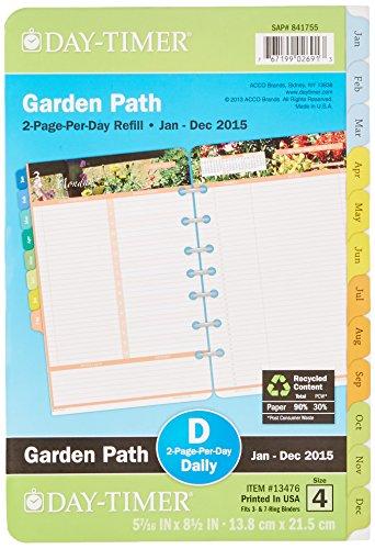 Acco DayTimer Garden Path Daily Planner Refill 2015, 5.5 ...