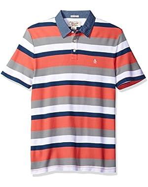 Men's Short Sleeve Stripe Pique Polo W/ Chambray Collar