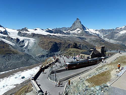 Home Comforts Peel-n-Stick Poster of Mountains Train Matterhorn -