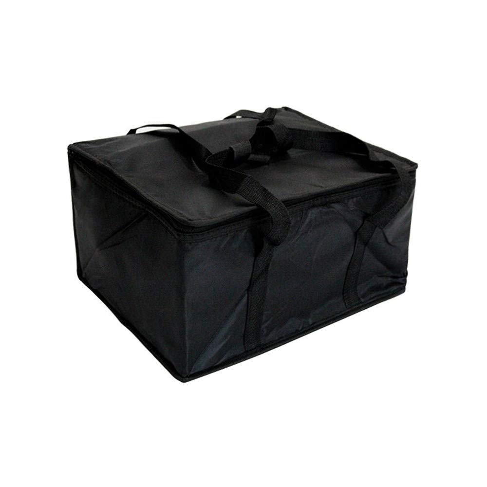 Insulated Food Delivery Bag Black Food Packing Nylon Bag 16in x 13in x 9in Quality Thermal Insulated Food Carry Bag for Food Delivery Companies Perfect Pizza Delivery Bag