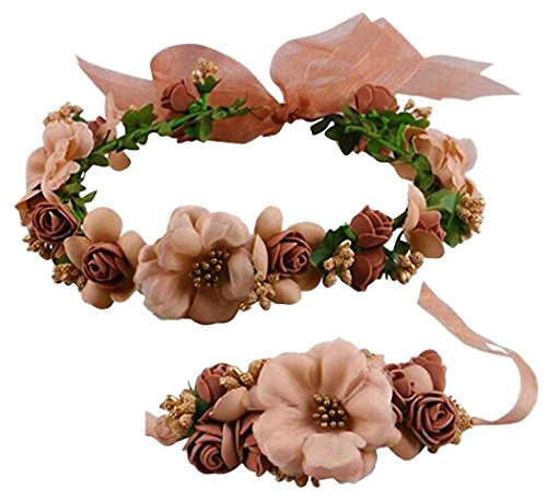 Brown Floral Band - Coolwife Flower Crown Wedding Hair Wreath Floral Headband Garland Wrist Band Set (Coffee)