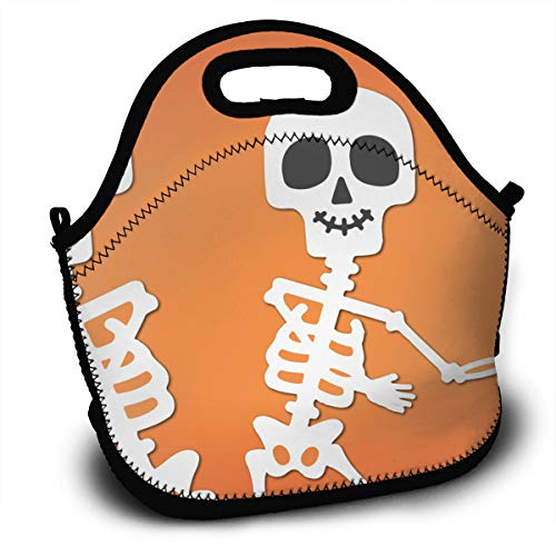 Yisliferunaz Halloween Skull Bone Pattern Lunch Bag Portable Bento Bags Food Boxes Carry Case Tote Adults Kids Outdoor Multifunction Handbag Pouch for Picnic Travel School Office Trip Work ()