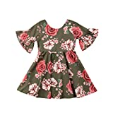 Little Kids Girls Summer Pleated Off-Shoulder Flower Sling Dress (Army Green, 3-4 Years)