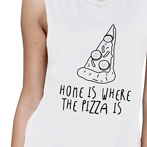 365 Printing -  Canotta  - Senza maniche  - Donna Home Is Where Pizza Womens White L