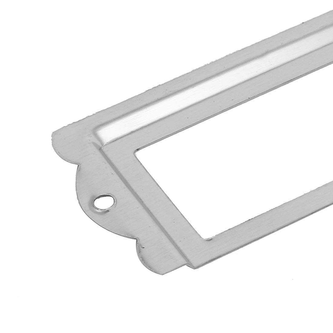 DealMux Library File Cabinet 85mm x 42mm Tag Label Holders Frames Silver Tone 15PCS