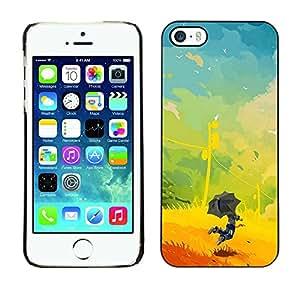 "For Apple iPhone 5 / 5S Case , Niños Pintura vibrante Verano Amarillo"" - Diseño Patrón Teléfono Caso Cubierta Case Bumper Duro Protección Case Cover Funda"