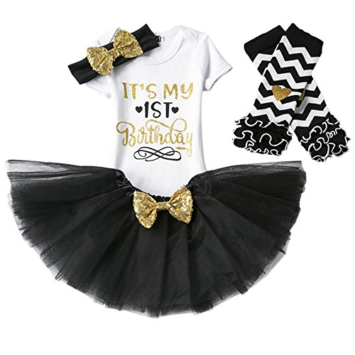 Baby Girl Its My 1st/2nd Birthday Cake Smash 3/4Pcs Shinny Sequin Bow Romper+Tutu Skirt+Headband+Leg Warmer Outfit, 4pcs 1st Birthday Black (1 Year), One -