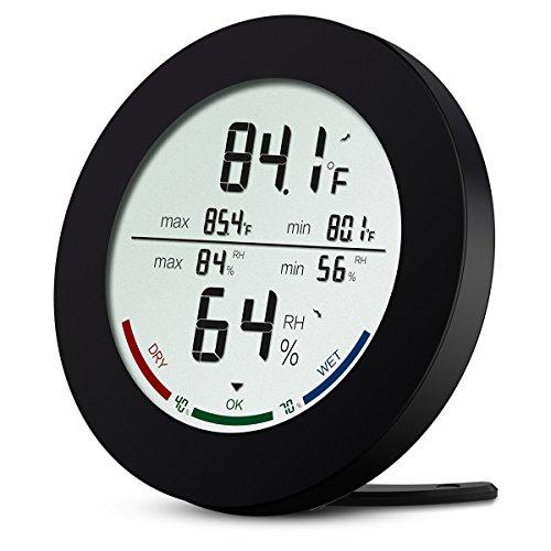 Thermomètre Intérieur, AMIR Thermomètre Hygromètre Digital, Moniteur de Température et d'humidité Sans Fil avec écran LCD, MIN/MAX Records, Indicateur de Confort, Station Météo pour Maison et Bureau