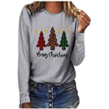 Womens Christmas Graphic Letter Print Blouses Long Sleeve Oversized Tops T-Shirts