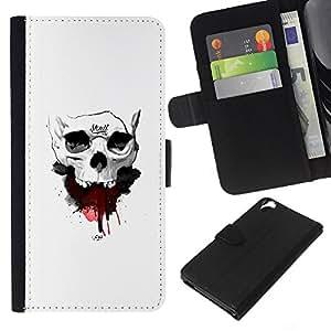 Stuss Case / Funda Carcasa PU de Cuero - Cráneo de la sangre - HTC Desire 820
