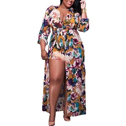 89d9e7bd038e 80%OFF Lalagen Women s Floral 3 4 Sleeve Deep V Neck Plus Size Romper