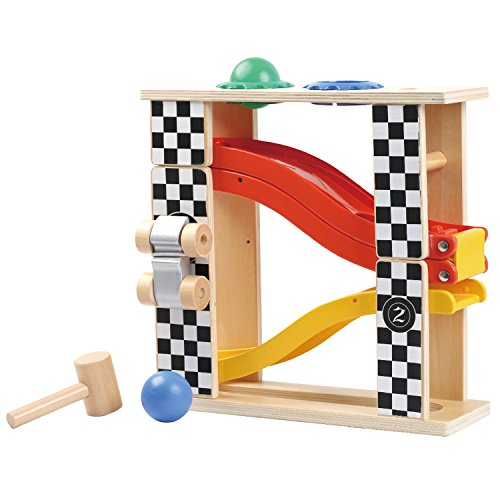 Family Games Little Moppet 2-in-1 Wood and Plastic Race Track Playset with Pound Bench Car Toys, Motor Skills, Learning for Boys and Girls Age 1.5 and Up