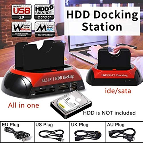 """Baynne All in 1 HDD Docking 2.5""""/3.5"""" USB 2.0 Card Reader IDE SATA Dock Station High Speed Transfer One-Touch Backup OTB Function"""