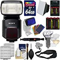 Sony Alpha HVL-F60M Flash with Video Light with Soft Box + Diffuser Bouncer + Color Gels + 64GB Card + Strap + Batteries + Kit