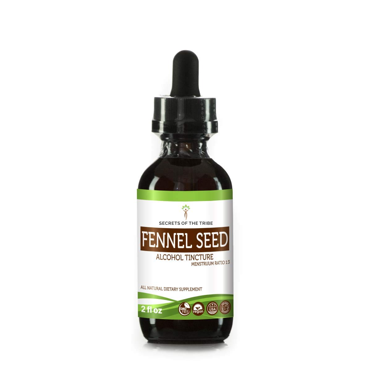 Fennel Seed Tincture Alcohol Extract, Organic Fennel (Foeniculum vulgare) Dried Seed Tincture Supplement (2 FL OZ)