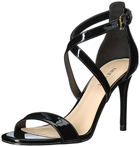 (Nine West Women's MYDEBUT Synthetic Sandal, Black, 8 M US)