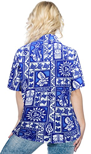 ropa de playa bot�n hawaiano ocultamiento por parte de las se�oras camisa sin mangas vestido de la playa de manga corta hacia abajo Azul