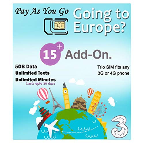 PrePaid Europe (UK Three) sim Card 5GB Data+Unlimited Minutes+Unlimited Texts for 30 Days with Free Roaming/USE in 71 Destinations Including Europe,South America and Australia (5GB Data) (Best Sim Card To Use In Australia)