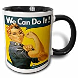 we can do it mug - 3dRose (mug_149446_4) Vintage We Can Do It War Production Committee Poster - Two Tone Black Mug, 11oz