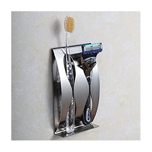 Stainless Steel Toothbrush Holder Organizer Razor Stand for Bathroom Wall Mount Stand + Sticking (2 seat) lovely