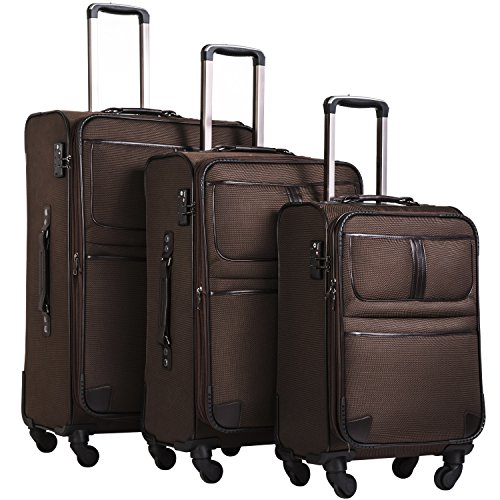 Coolife Luggage 3 Piece Set Suitcase with TSA lock pinner softshell 20in24in28in (brown) by Coolife