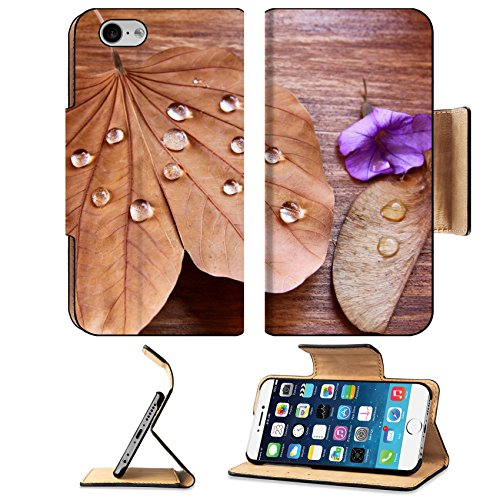 Liili Premium Apple iPhone 6 iPhone 6S Flip Pu Leather Wallet Case IMAGE ID 32394380 low key image of Dry leaf with dewdrops on wooden background selective focus