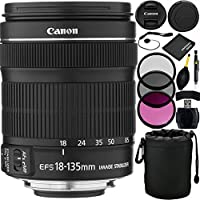 Canon EF-S 18-135mm f/3.5-5.6 IS STM Lens Bundle with Manufacturer Accessories & Accessory Kit for EOS 7D Mark II, 7D, 80D, 70D, 60D, 50D, 40D, 30D, 20D, Rebel T6s, T6i, T5i, T4i, SL1, T3i, T6, T5, T3