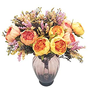 cn-Knight Artificial Flower 19'' Silk Peony Bouquet with 7pcs Flowers Real-Touch Arrangement for Wedding Décor Arch Bridal&Bridesmaid Home Office Baby Shower Party Prom Centerpieces Garland 106