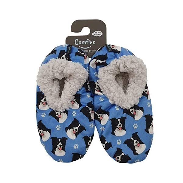 Border Collie Super Soft Womens Slippers - One Size Fits Most - Cozy House Slippers - Non Skid Bottom - perfect for Border Collie gifts 1