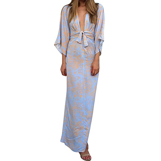 4a25c0a0ff1 Boho Pringting V Neck Batwing Half Sleeve Long Evening Party Dress with  Belt Sashes for Women