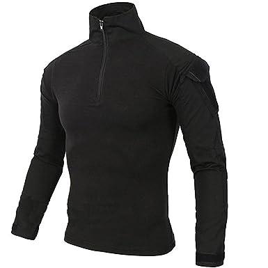 6072920e0ee2d3 LiliChan Mens Long Sleeve Tactical Military T-Shirt Outdoor Shirt Combat  Shirt with Zipper