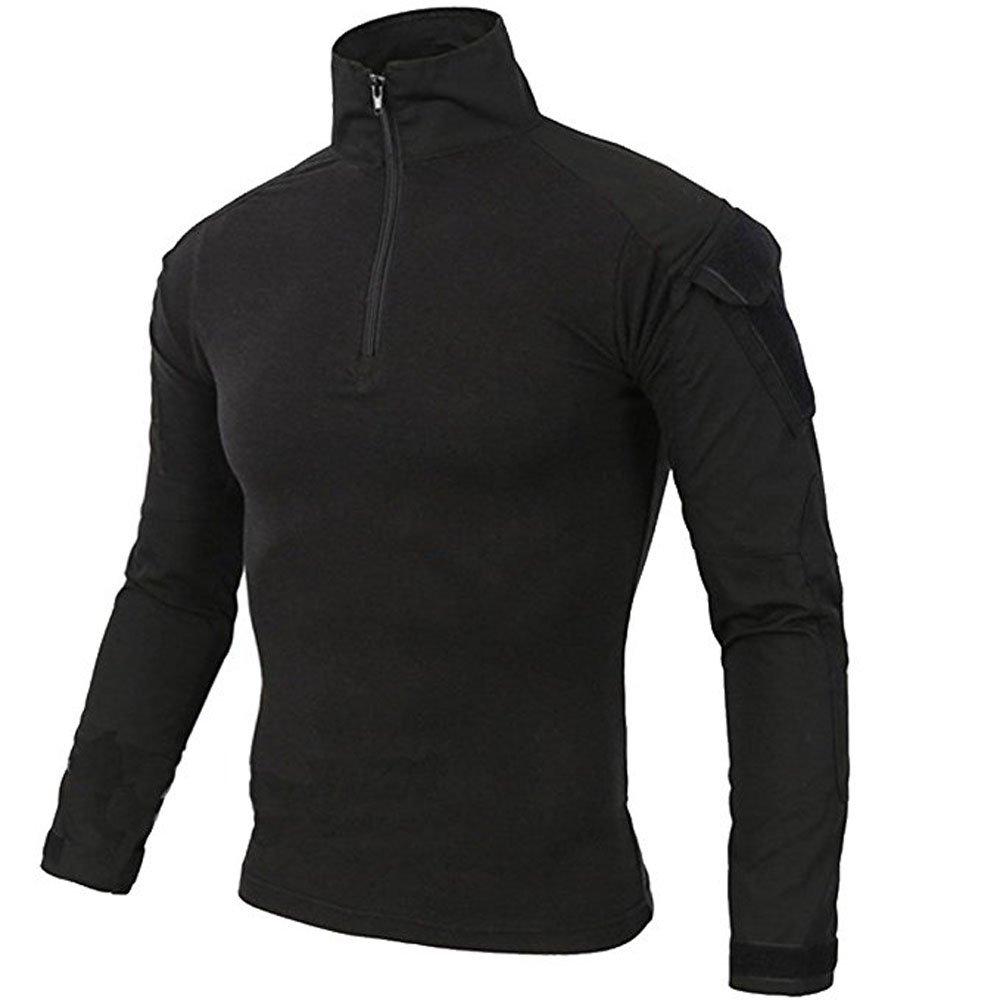 LiliChan Mens Long Sleeve Tactical Military T-Shirt Outdoor Shirt Combat Shirt with Zipper