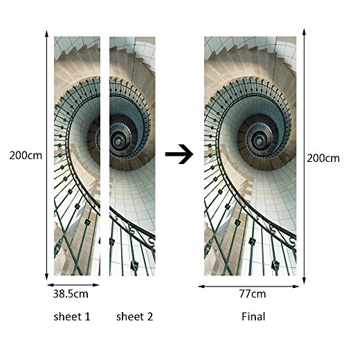 """30.3x78.7"""" Spiral Staircase Wall Mural Door Wallpaper Stickers for Home Decoration Vinyl Removable 3D Decals"""