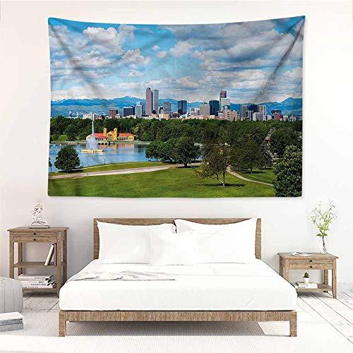 Fashion Tapestry,Urban Sunny City Park at Denver,Stylish Minimalist Fresh Style,W59x39L
