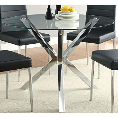 "BOWERY HILL 41"" Round Glass Top Contemperary Dining Table in Chrome"