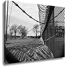 Ashley Canvas Coils Of Razor Wire Are Attached To A Chain Link Fence Around The Perimeter Of, Home Office, Ready to Hang, Black/White 20x25, AG6086590