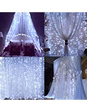 Yooda Window Curtain String Lights, 300 LED USB Powered Curtain Lights, 8 Lighting Modes Waterproof Decorative Lights for Wedding, Homes, Party, Bedroom, 9.8x9.8 Ft, White