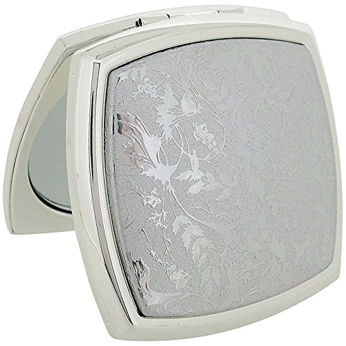 Stratton Compact Mirror Ladies Heritage Collection Cushion Shape Silvertone Finish 3x Magnification Pocket Mirror ST1132 ()