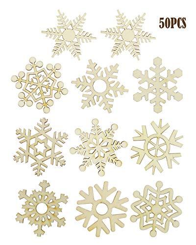Amersumer 50 PCS 51mm 10 Styles Snow Wooden Hanging Pendants Christmas Tree