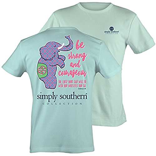 Simply Southern Tees Short Sleeve Preppy Be Strong and Courageous Joshua 1:9