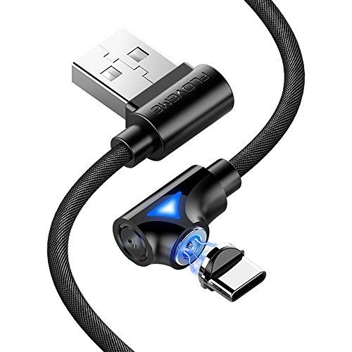 FLOVEME USB Type C Cable, 360° Rotary Braided Magnetic USB C 2A Fast Charger Cable, Compatible for Samsung Galaxy S9,S9 Plus,S8,S8 Plus,Note 9,8,Huawei, LG, HTC,USB C Devices(Black-3.3ft)